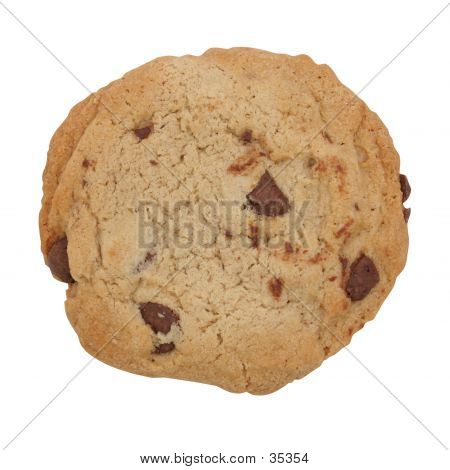 Chocolate Chip Cookie Isolated With Clipping Path
