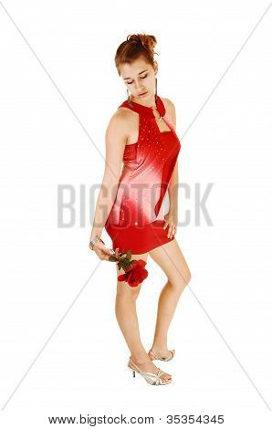Girl In Red Dress With Rose.