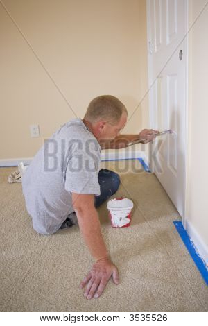 Painter Painting Bedroom Door
