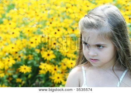 Adorable Girl, Flower In Background