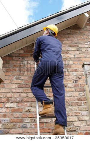 Work Man Climbing A Ladder