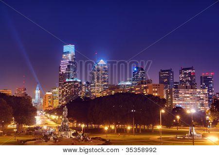 Center City Philadelphia Cityscape Night Skyline