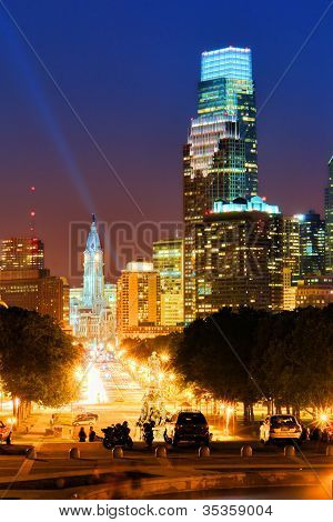 Downtown Philadelphia Cityscape Night City Skyline