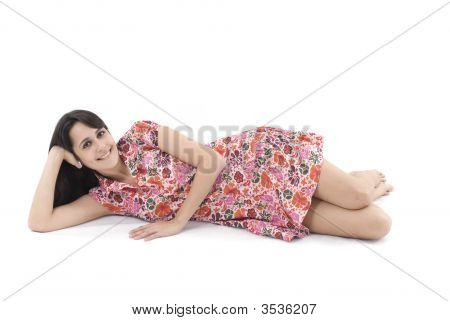 Girl Relaxing And Smiling