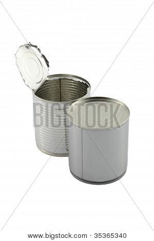 Opened behind closed tin can on white background.