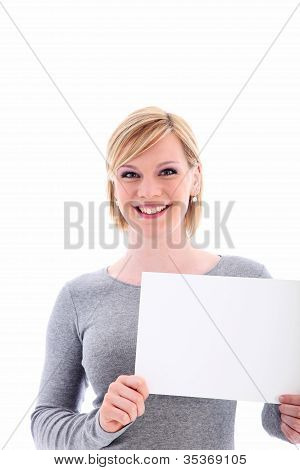 Friendly Woman Holding A Blank Sign