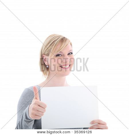 Woman With Blank Sign Gives Thumbs Up
