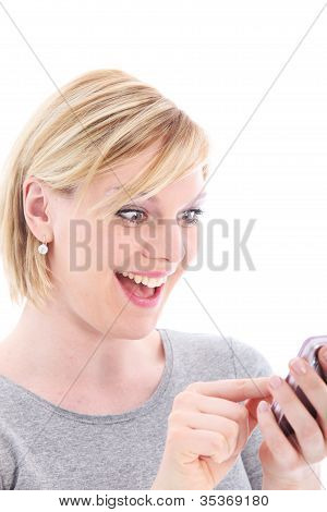Surprised Woman Texting On Her Mobile
