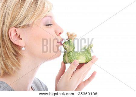 Woman Kissing Her Frog Prince