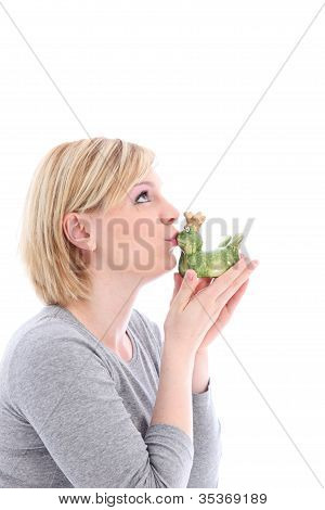 Hopeful Woman Kissing Her Frog