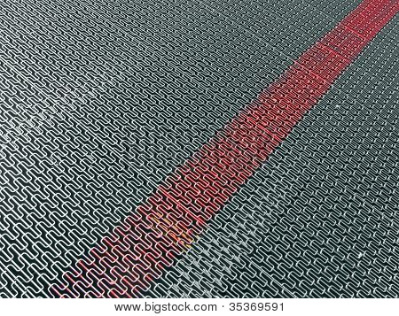 Abstract Silver Metal Surface With Marked Red Line, Industry