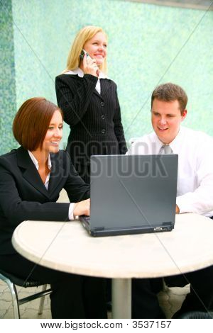 Business Woman With Two Associates On Computer
