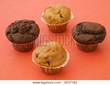 Muffins. Chocolate And Blueberry Muffins.