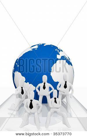 Teamwork and world globe