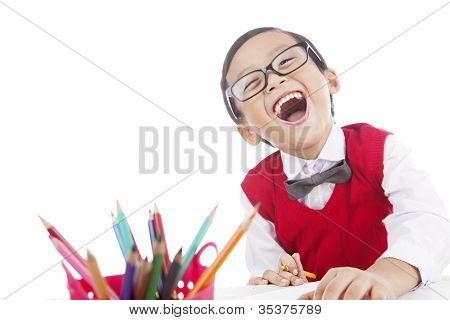 Cheerful Pupil With Crayon