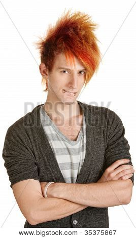 Man In Orange Hair Biting His Lips