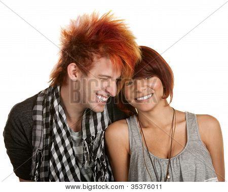 Giggling Teenage Couple