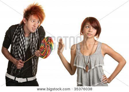 Lady Dismisses Man's Candy