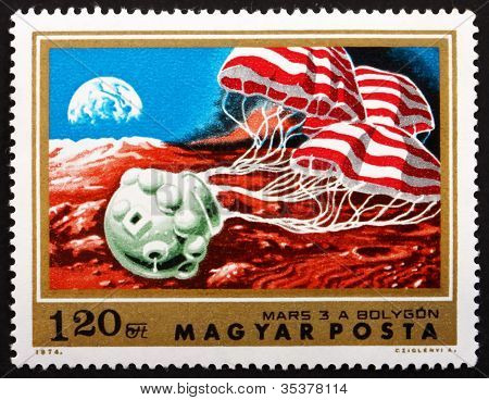 Postage stamp Hungary 1974 Soft Landing of Mars 3 on Mars
