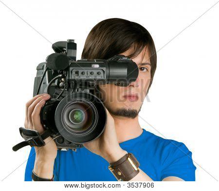 Camarógrafo, aislado sobre fondo blanco