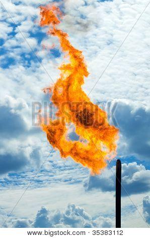 Gas Abfackeln.