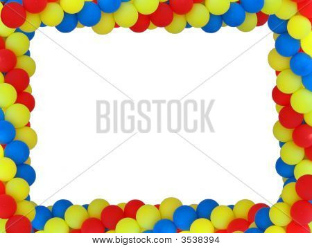 Colored Baloon Frame With Empty Plase For Birthday Portret Isolated