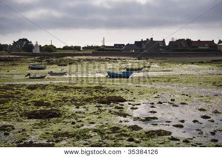 Harbor In Bretagne At Low Tide Time