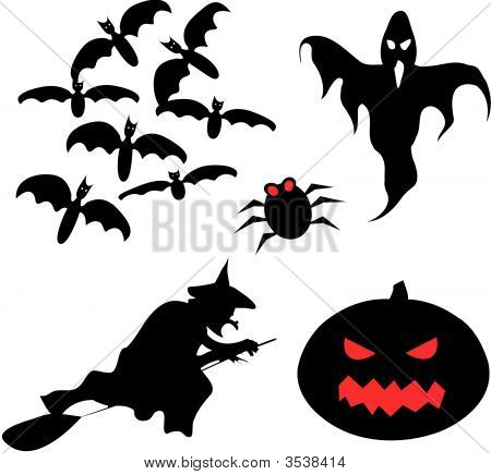 Halloween Set Of Vector Silhouettes