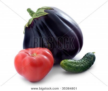 Eggplant Varieties Of Beef Heart, Cucumber And Tomato