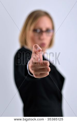 Successful Businesswoman Poses And Hand Pointing Aim