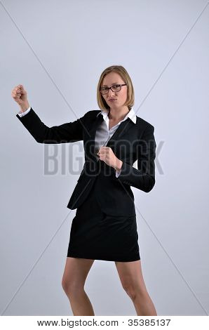 Young Businesswoman Fighting Pose