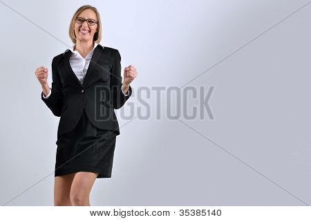 Young Happy Businesswoman Businesswoman Celebrating Success
