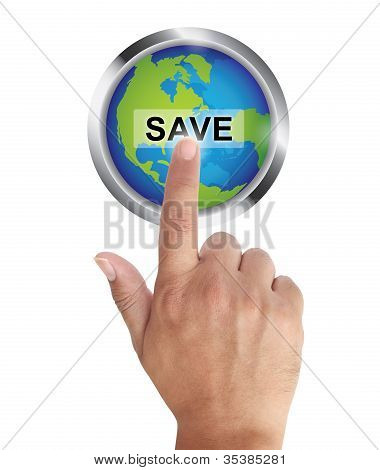 Hand Pushing Save Earth Button