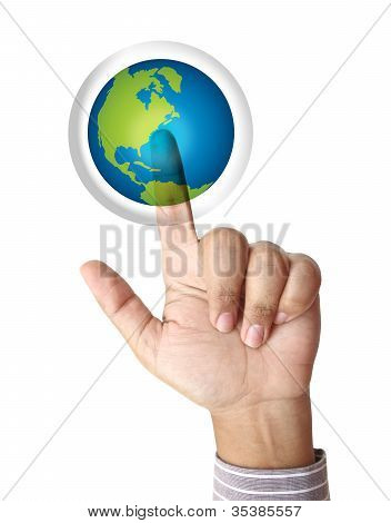 Hand Pushing The Earth Button