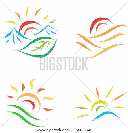 Sun symbol Set