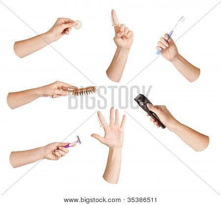 Set Of Hand With Tool - Hygiene
