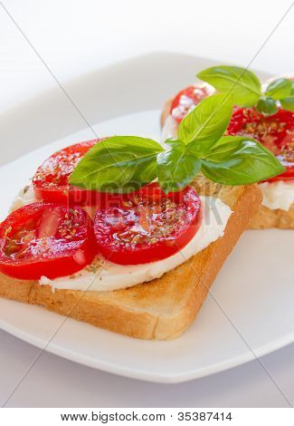Bread with mozzarella and tomatoes