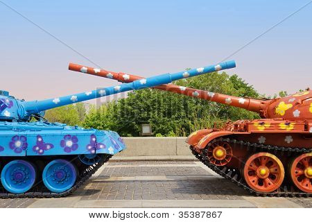 Painted Tanks With Crossed Trunks. Kyiv, Ukraine
