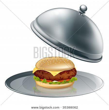 Cheese Burger On Silver Platter
