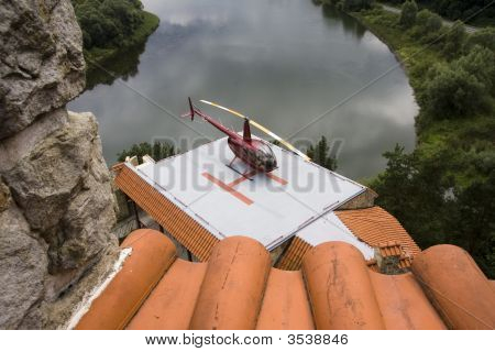Top View Of The Heliport In The Old Castle