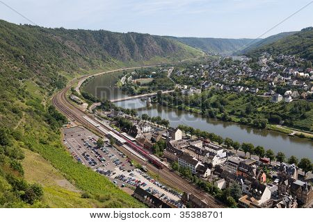 Cityscape Of Cochem, Historic German City Along The River Moselle