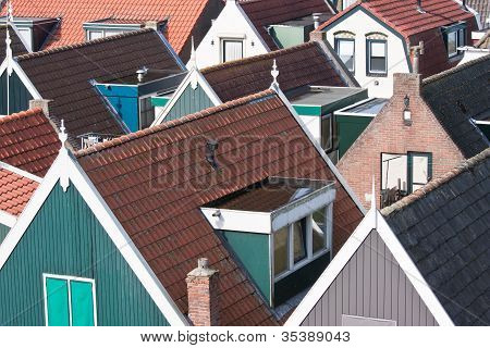 Facing The Roofs Of An Old Pittoresk Village In The Netherlands