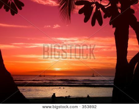 Picture or Photo of Sunset on beach at waikiki