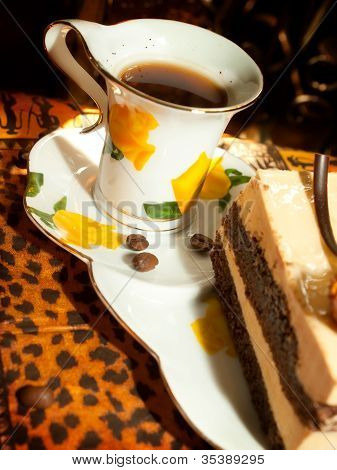 Vienna Cake With Almond And Caramel In Cafe