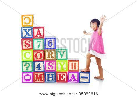 Stepping Upward On Alphabet Block