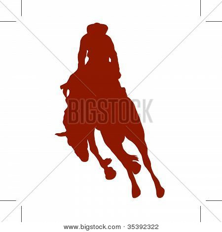 Cowboy Riding Bucking Bronco Or Horse