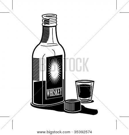 Whiskey Bottle And Shot Glass
