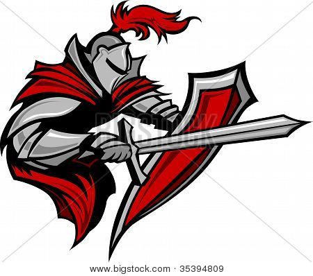 Knight Warrior Mascot Stabbing With Sword And Shield Vector Image