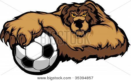 Oso mascota con Soccer Ball Vector Illustration