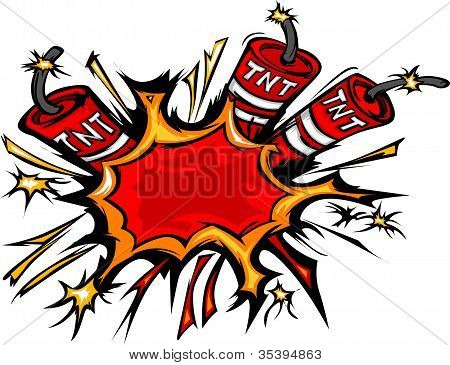 Dynamite Explosion Cartoon Vector Illustration